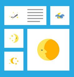 Icon flat night set of moon nighttime midnight vector