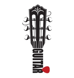 Icon with guitar neck and pick vector