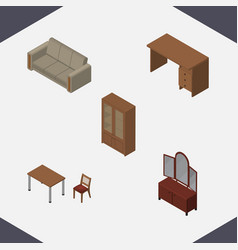 Isometric furniture set of chair couch drawer vector