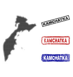 Kamchatka peninsula map in halftone dot style with vector