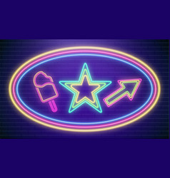 led neon star colorful disco party sign vector image