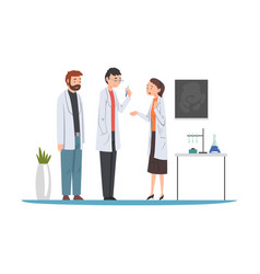Male and female scientists in lab coats doing vector