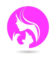 Mother and baby silhouettes vector image