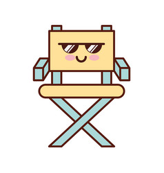 Movie director chair kawaii character vector