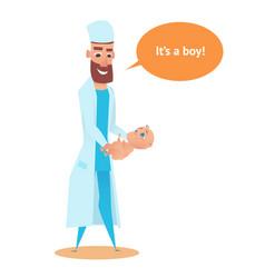 newborn boy in obstetrician doctor hands flat vector image