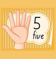 number five hand gesture vector image