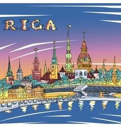 Old Town and River Daugava at night Riga Latvia vector