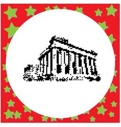 Parthenon on acropolis in athens greece black vector