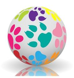 Paw prints on ball vector