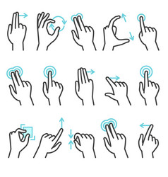 phone hand gestures hand gesture for touchscreen vector image