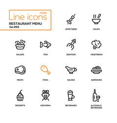 restaurant menu - line design icons set vector image