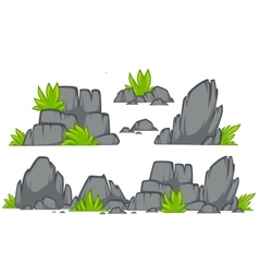 Rock stone cartoon flat style Set of different vector image