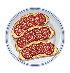 Sandwiches with salami vector
