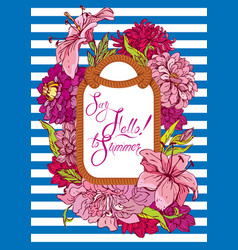 seasonal card with rope frame and flowers on vector image vector image