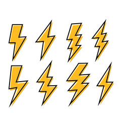 Set lightning bolt or thunder icons set set vector