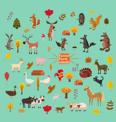 set of cute and cute farm and forest animals fox vector image