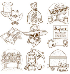 Set of outline on the theme of the wild west vector