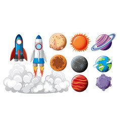 Set of space objects concept vector