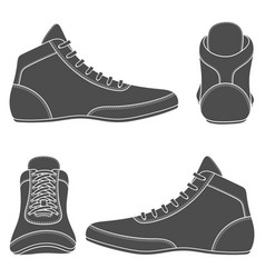 Set with wrestling shoes vector