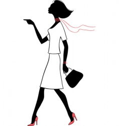 silhouette beauty woman with bag vector image