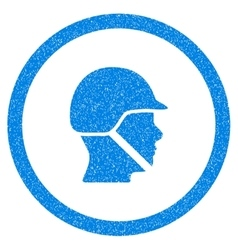 Soldier Helmet Rounded Icon Rubber Stamp vector