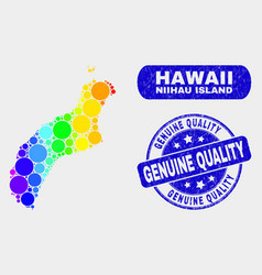 Spectral mosaic niihau island map and scratched vector