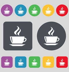 tea coffee icon sign A set of 12 colored buttons vector image