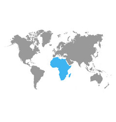 the map of africa is highlighted in blue on the vector image