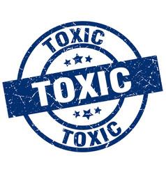 Toxic blue round grunge stamp vector