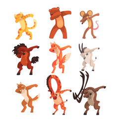 Various animals standing in dub dancing poses set vector