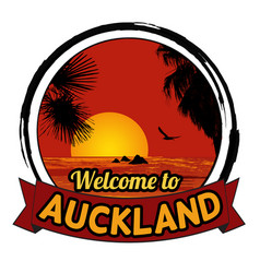 Welcome to auckland concept in vintage graphic vector