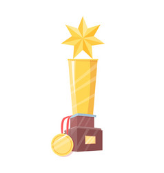 Winner prize figurine with star and medal isolated vector