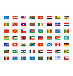 world flags symbols all countries map vector image
