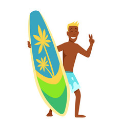 young man surfboarder with surfboard and vector image
