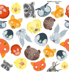 Cartoon Animals Party Mask Background Pattern vector image