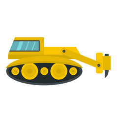 Excavator with hydraulic hammer icon isolated vector