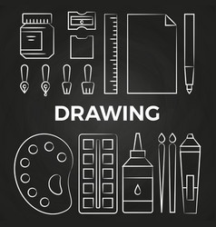 hand drawn linear drawing stationery icons on vector image vector image