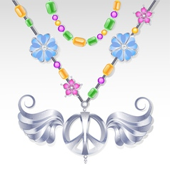 silver peace necklace vector image