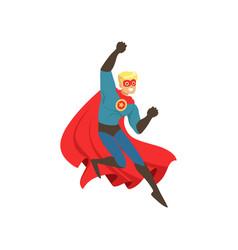 superhero man character dressed in blue costume vector image