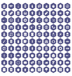 100 lunch icons hexagon purple vector