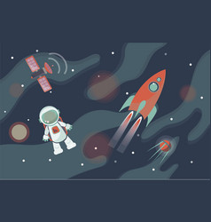 astronaut in space against the background of stars vector image