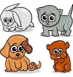 cartoon cute pets animals set vector image vector image