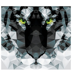 Geometric polygon white tiger head triangle vector image