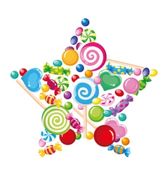 candy star white vector image