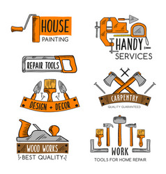 icons template of home repair handy service vector image