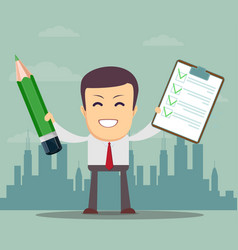 man holding a pencil and list of tasks or vector image
