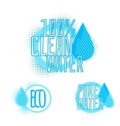 Set of three clear water badges vector image vector image
