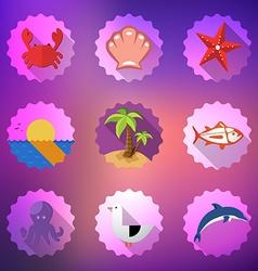 Summer Sea Travel Weekend Trip Flat icon set vector image