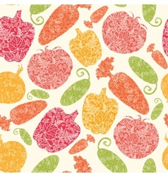Textured vegetables seamless pattern background vector image