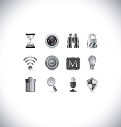 black and white icons vector image vector image